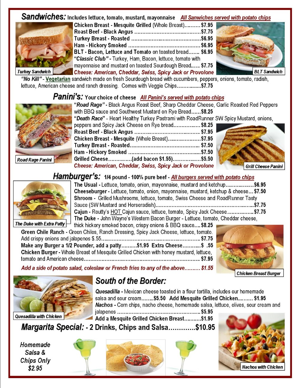Arizona Cafe Menu