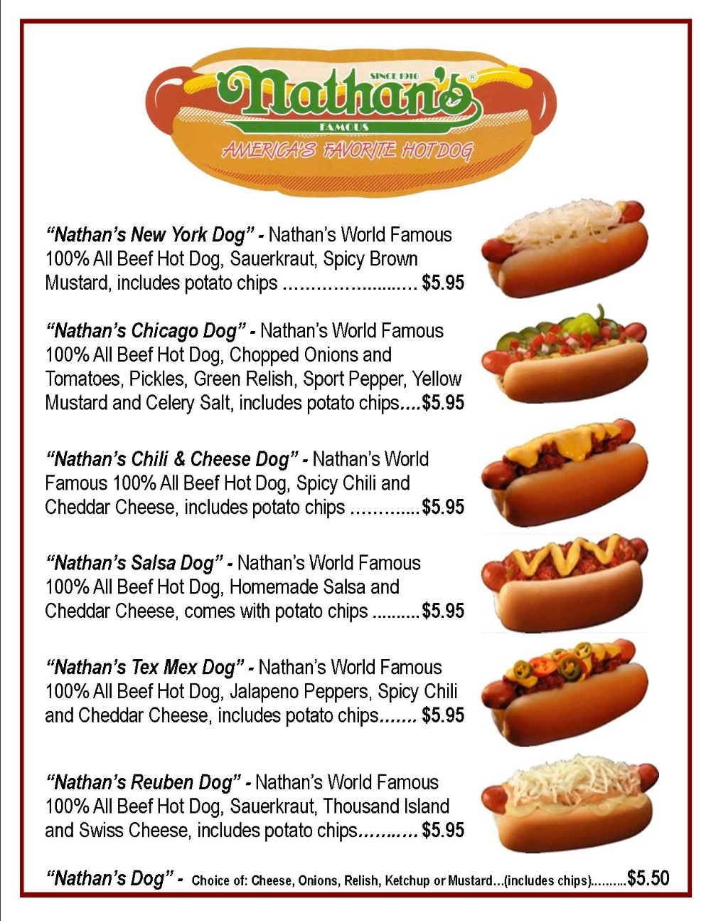 Hot Dog Bar Menu